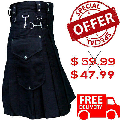 Men Utility Kilt Black Traditional Scottish Highland Custom Made 100% Cotton All