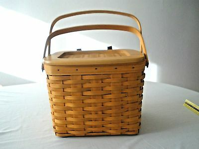 2001 LONGABERGER Med. BASKET WITH WOODEN LID Double Handle Leather Hinges