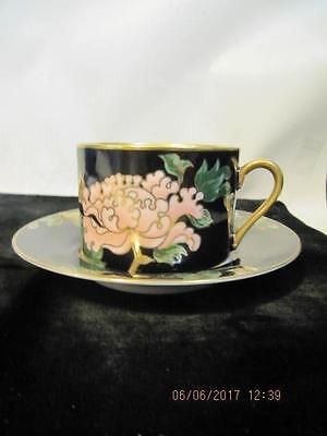 2 Fitz & Floyd Cloisonne Peony Black Coffee Tea Cup & Saucers Retired Pattern