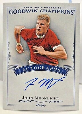 John Moonlight 2016 UD Goodwin Champions on-card Autograph Auto - Rugby