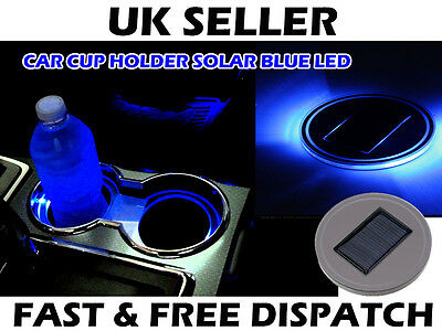 Car Camper Boat Cup Holder LED Solar Light Up Blue Interior Mat Coaster