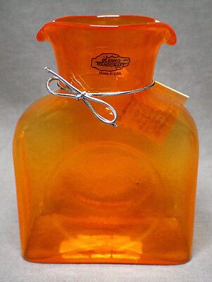 Blenko Water Pitcher Bottle Double Spout In Dreamcicle Mini Special Edition NWT