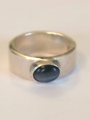 Signd DEPIT 925 Sterling Silver Ring With Agat Size 6
