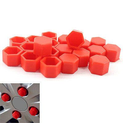 Red Cap 20PCS Car Wheel Nut Bolt Tire Screw Cover Dust 19mm For VW Golf AUDI