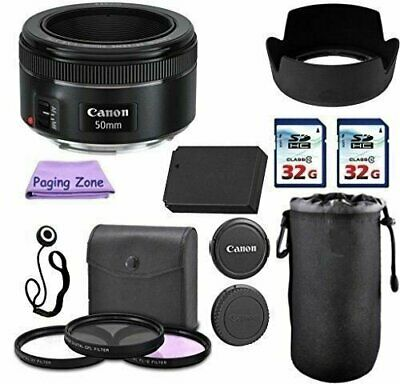 Canon EF 50mm f/1.8 STM Camera Lens PagingZone Deluxe Kit. 3 Piece Filter Set