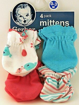 GERBER BABY GIRL 4-Pack Mittens Coral Aqua Birds Size 0-3M; Baby Shower Gift!