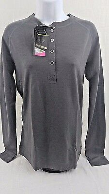 Showers Pass Women's Bamboo Merino Henley Long Sleeve Base Size-Small Gray (B5)