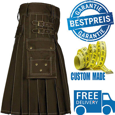 Men Brown Utility Kilt Scottish Highland Kilt 100% Cotton Custom Made Free Ship
