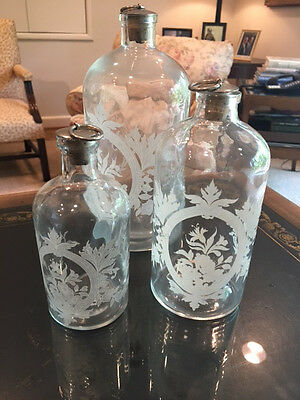 VINTAGE Etched GLASS APOTHECARY BOTTLES w/ Cork Lids SET of 3