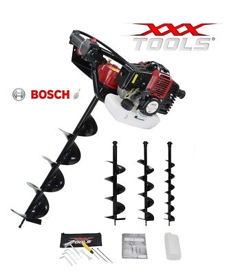 XXX 52cc Petrol Earth Auger / Fence Post Hole Borer / Ground Drill 3 x Bits +
