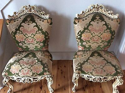 19th Century Italian baroque style antique painted wood and velvet Slipper Chair