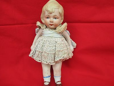 "Vintage  1920's 7"" Bisque Jointed Girl Nippon Doll"
