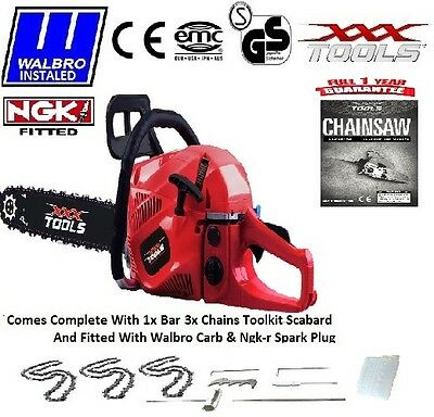 """62cc Petrol Chainsaw, Assisted Start, WALBRO CARB + NGKr, 24"""" Blade, 3 x Chains"""