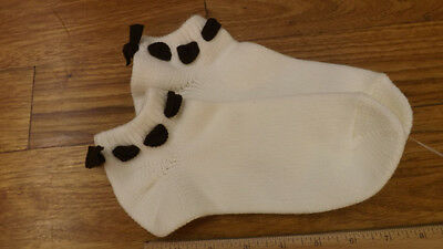 Vtg Women's Anklet Booties Sport Socks SUPER SOFT ORLON Brown Bows No Pom Poms