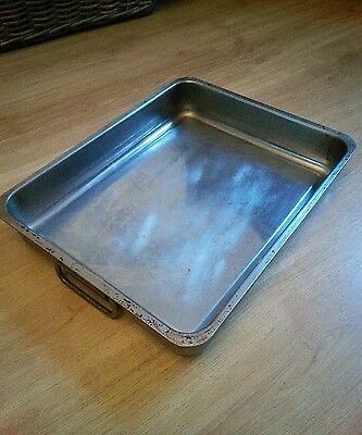 Large catering steel roasting baking tray with handles
