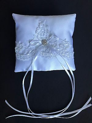 White Wedding Ring Cushion Bearer Pillow Luxury Beaded Floral Lace Heart