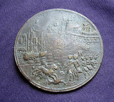1743/4 Medal Depicting Action off Toulon, Hanging of Admiral Matthews. Eimer 582