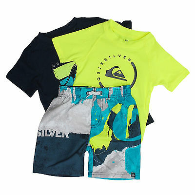 New Boys 5 Quiksilver 3 Piece Swim Set Boardshorts Shirt Rash Guard Suit Upf 50+
