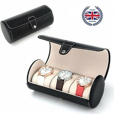 3 Slot PU Leather Watch Travel Case Roll Box Collector Organizer Jewelry Storage