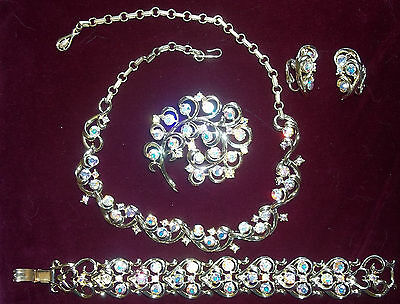 Coro Silvertone Parure AB Crystals Necklace Bracelet Brooch Earrings