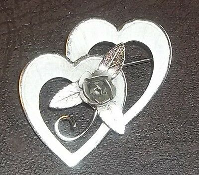 Bond Boyd Sterling Double Heart and Rose Brooch Pin