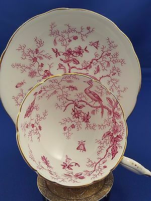 """Vtg Coalport Teacup Saucer """"cairo"""" Pink Birds Wide Mouth Footed Tea Cup Lovely"""
