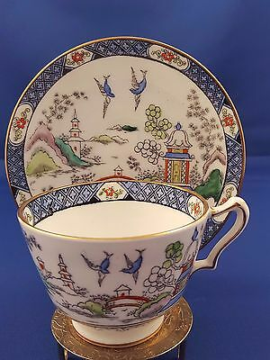 Rare Gaudy Blue Willow Crown Staffordshire Oriental Teacup Saucer Cup England