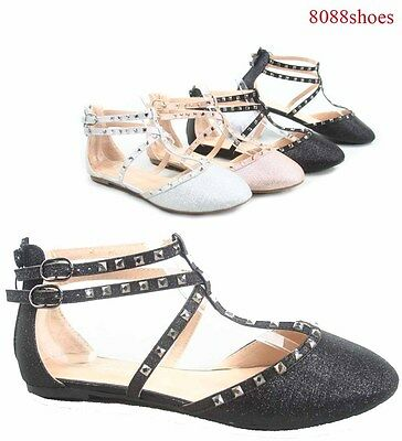 Women's Sexy T-strap Studded Rivet Stone Ballet Flat Round Toe Sandals Shoes NEW