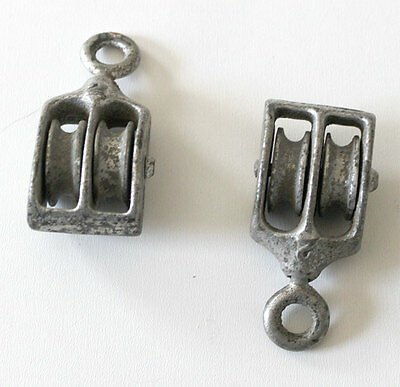 """(Lot of 2) Vintage 2"""" Galvanised Double Pulley Block & Tackle"""