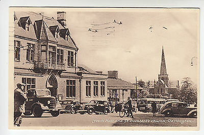 Town Hall and St Cuthbert's Church, Darlington - Animated PC PU 1950 (1316)