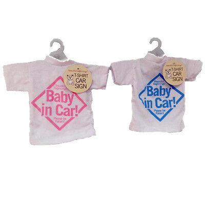 Baby On Board Car Sign T-Shirt Style Children Kids Toddlers Window Easy Fold