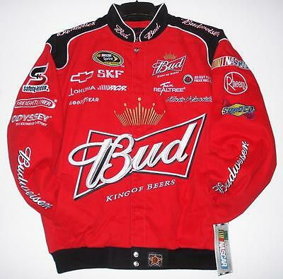 SIZE 2XL NASCAR Kevin Harvick BUD BUDWEISER Authentic Cotton Red Jacket NEW XXL