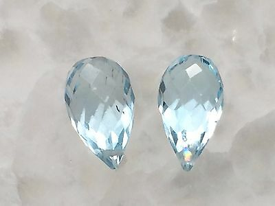 A+ Blue Topaz Micro Faceted 8mm Teardrop Gemstone Briolette Pair in Gem Box