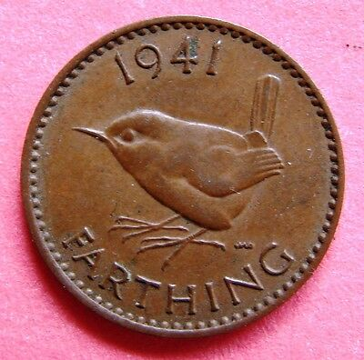 Great Britain Scarce King George Vi 1941 Wren Farthing Coin Birthday - Date Gift