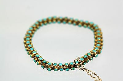 Antique 18K Yellow Gold Three sided Turquoise Bracelet circa 1900