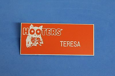 Hooters Restaurant Girl Teresa Orange Name Tag W/ White Letters (Pin)