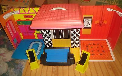 Vintage 1968 BARBIE Doll Vinyl FAMILY HOUSE with Mod Furniture