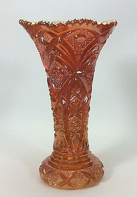 "Imperial Glass Carnival Marigold Hobstar Nucut Vase 10"" Tall~Deep Rich Color"