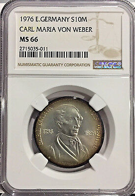 1976 MS66 East Germany DDR Silver 10 Mark Carl Maria Von Weber Edge Toning NGC