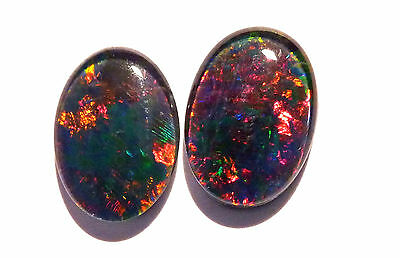 Bright pair of Australian Opal Triplets, A grade, 14x10mm (#2651)