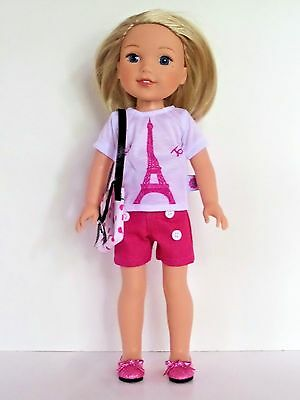 """Doll Clothes 14.5 Inch Shorts Pink Top Yorkie Fit 14.5/"""" AG WELLIE WISHER DOLLS"""