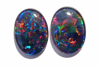 Pretty Pair of Multicolour Australian Opal Triplets, B+ grade, 18x13 mm (#2643)
