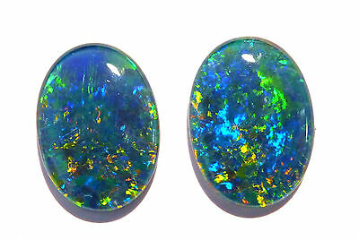 Bright Pair of Multicolour Australian Opal Triplets, A grade, 18x13 mm (#2630)