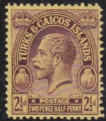 TURKS & CAICOS #49 MLH 2 1/2p VIOLET, YELLOW KING GEORGE V (INSCRIBED POSTAGE)