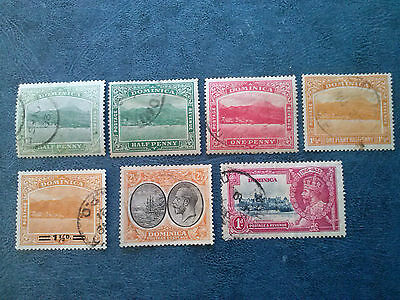 Dominica 1907-35  #55-57-59-61-77-90   (7) Stamps Used