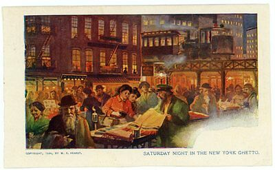 Postcard - Saturday Night in The New York Jewish Ghetto - 1904