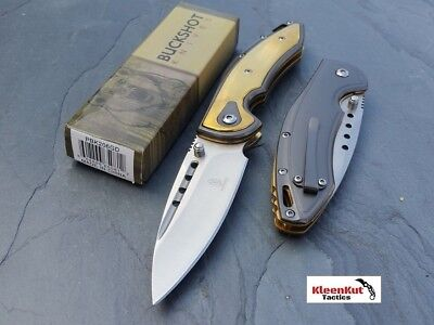 "BUCKSHOT 8"" GOLD SILVER Spring Assisted Open TACTICAL Pocket Knife FOLDING BLADE"