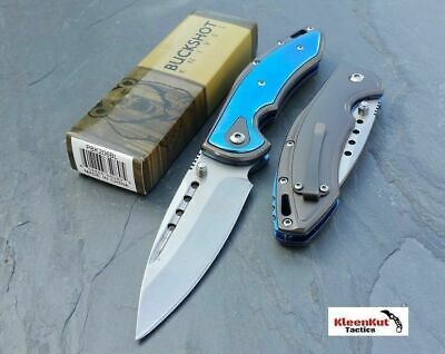 "BUCKSHOT 8"" BLUE SILVER Spring Assisted Open TACTICAL Pocket Knife FOLDING BLADE"