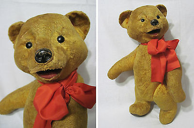 Old Russian Vintage Bear,Sawdust,Papier-Mache,Plush,Glass Eyes,USSR,50's