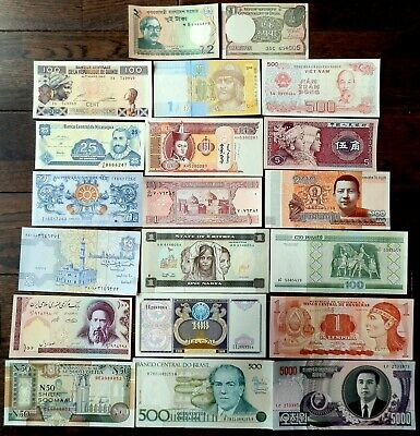 20 Pcs Collection of Assorted World Banknotes - All Collectibles  - all UNC